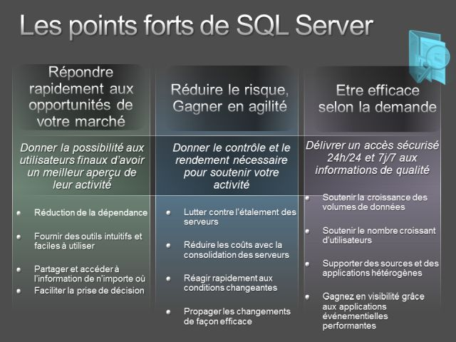 points forts SQL server